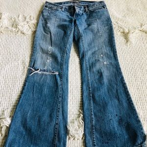 Fossil distressed flare leg jeans
